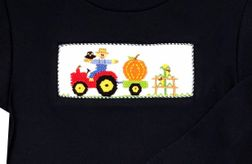 Smocked Boy's Fall Pumpkins Outfit | Thanksgiving | Children's Cottage