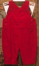 A sweet red corduroy cross back overalls for little boys perfect for monogramming and for Christmas!