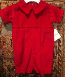 Claire & Charlie Red Corduroy Boy's Romper