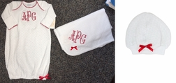 Paty Inc. White Baby Gown for Girls or Boys with Red Trim and Bow