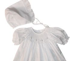 Petit Ami Smocked White with White Rosebuds Baby Gown