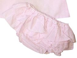 Petit Ami Pink Seersucker Cross Back Top and Ruffle Bloomers