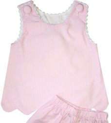 Delaney Girl's Light Pink Scallop Edge Shorts Set