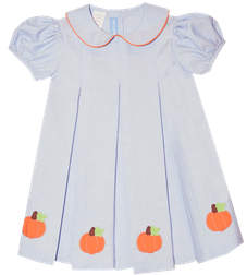 Applique Pumpkins Dress in Light Blue | Vive La Fete | Children's Cottage