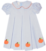 Vive La Fete Applique Pumpkins Dress in Light Blue