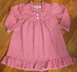 Red Gingham Ruffle Night Gown Perfect for Christmas