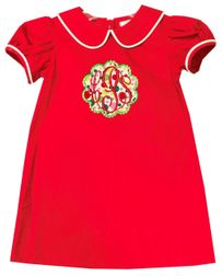 Girl Red Aline Monogram Dress | Christmas Holiday Dress | Children's Cottage