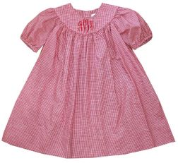 Petit Ami Red Gingham Monogrammable Dress and Bloomers