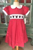 Le Za Me Smocked Minnie Mouse Dress or Bubble in Red with White Dots