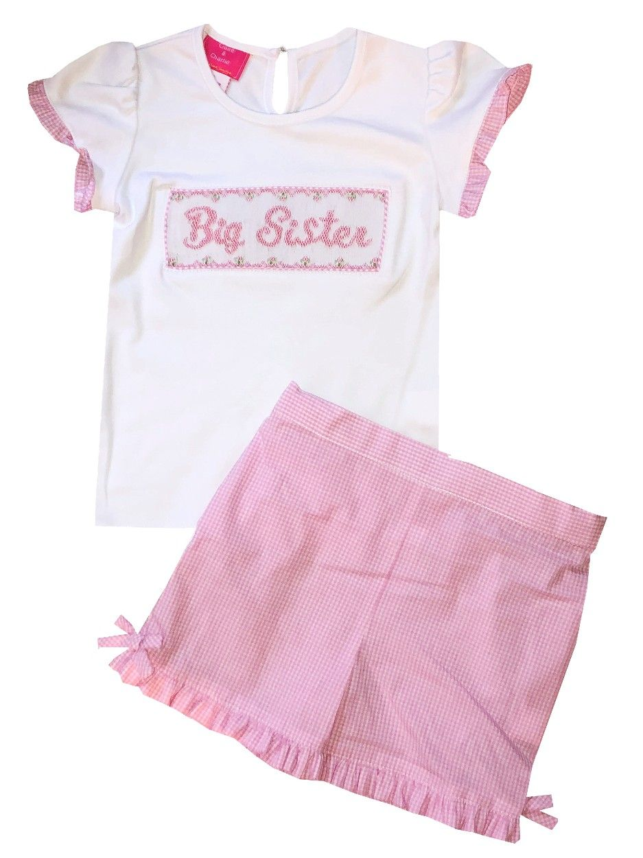 60888a95f Claire & Charlie Smocked Big Sister Shirt and Shorts Outfit