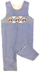 Smocked Fire Trucks Blue Gingham Boy Longall | Fall Outfit
