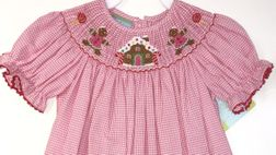 Smocked Gingerbread House & Cookies |Hot Pink Gingham |Anavini.