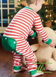 SPECIAL PROMOTION Girls Boys Red and Green Striped Faux Butt Flap Pajamas
