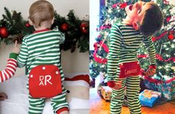 Girls & Boys Monogram Drop Seat Christmas Pajamas PJs | Children's Cottage