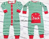 Girls Boys Red and Green Striped Faux Butt Flap Pajamas