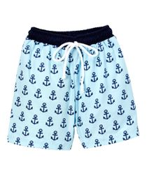 Boy's Monogram Blue Swimsuit Trunks with Navy Anchors by Sweet Dreams