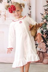 Sweet Dreams Girl's  Monogrammable White Night Gown with Red Trim and Ruffle
