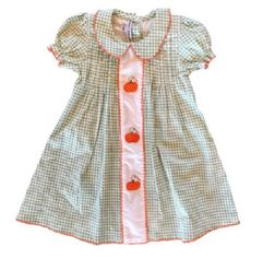 Sweet Dreams Smocked Pumpins Dress for Thanksgiving and Fall