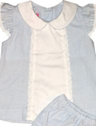 Claire & Charlie | Baby Girl Bloomer Set | Blue with Eyelet