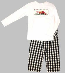 Vive La Fete Boys Smocked White Shirt and Black Gingham Pants with a Firedog and Firetruck