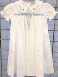 Delaney Smocked Day Gown in White with Blue Bullions
