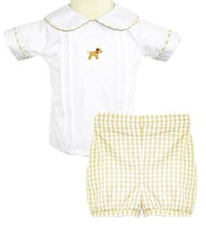 Zuccini Baby Boy's Crocheted Labrador Shirt and Banded Bloomers Outfit