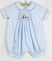 Zuccini Baby Boy's Smocked Duck Blue Gingham Bubble