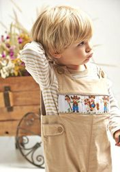 Zuccini Boy's Corduroy Smocked Cowboys Longall Reversible to Brown Gingham