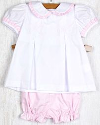 Zuccini Shadow Embroidered Pink Bows Ruffle Shirt and Bloomers Outfit
