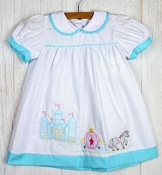 Zuccini Shadow Embroidered Princess Cinderella Castle and Coach Dress