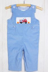 Zuccini Smocked Corduroy Side Tab Longall with Fire Engine Truck