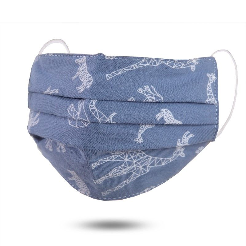 Adjustable Face Mask - Linen - Blue With Animals - Kids