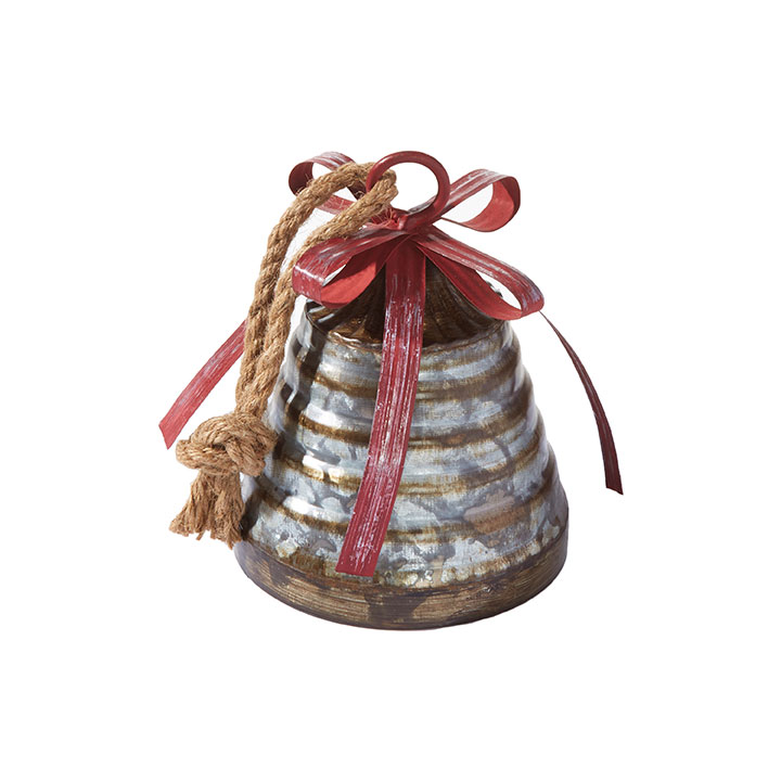 Antiqued Metal Bell - With Red Bow - 6in