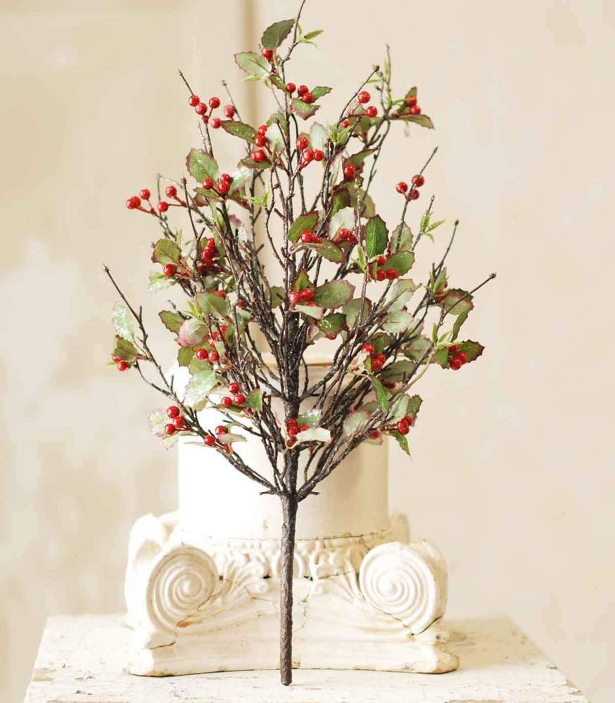 Artificial Bush - Holly with Red Berry - 22 Inch