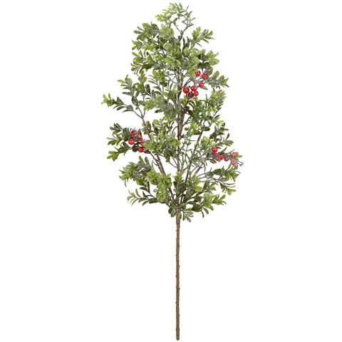 Artificial Cedar Stem - Cedar with Red Berries - 26in