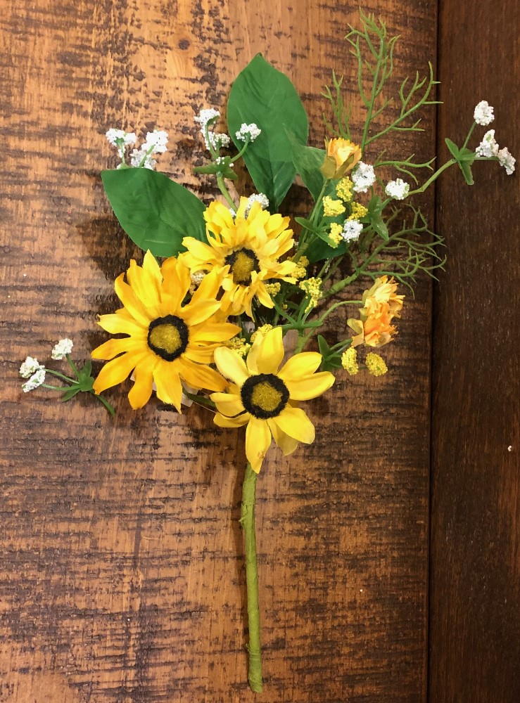 Artificial Flower Pick - Yellow Daisy - 14in