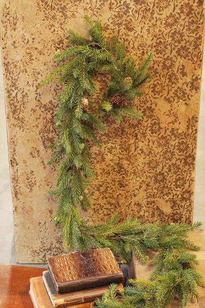 White Spruce Pine Garland With Pine Cones 6 Foot