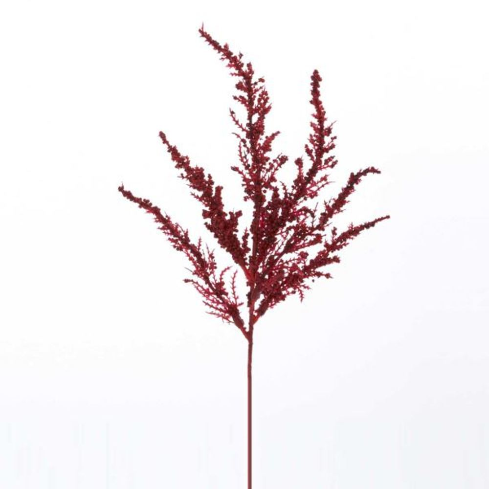 Artificial Spray - Red Feather Fern - 13in