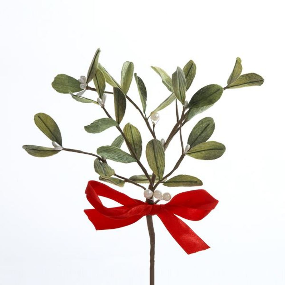 Stem - Mistletoe With Red Bow Pick - 10 Inch