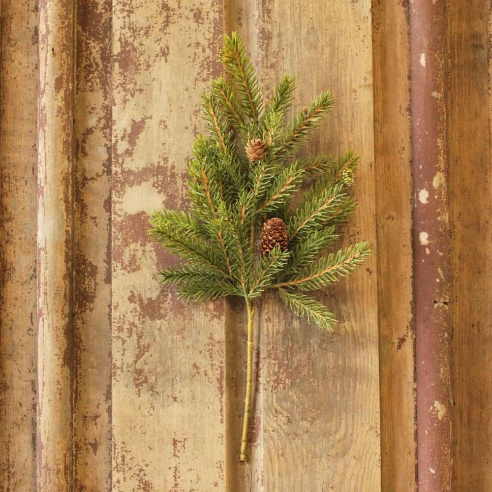 Artificial Stem - White Spruce with Cones - 16 Inch