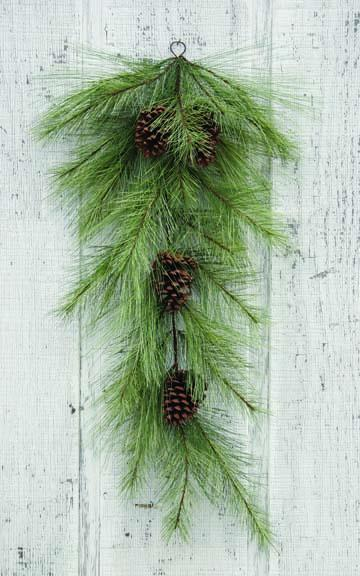 "Artificial Swag - ""Mixed Needle Pine Teardrop Swag"" - 36"""