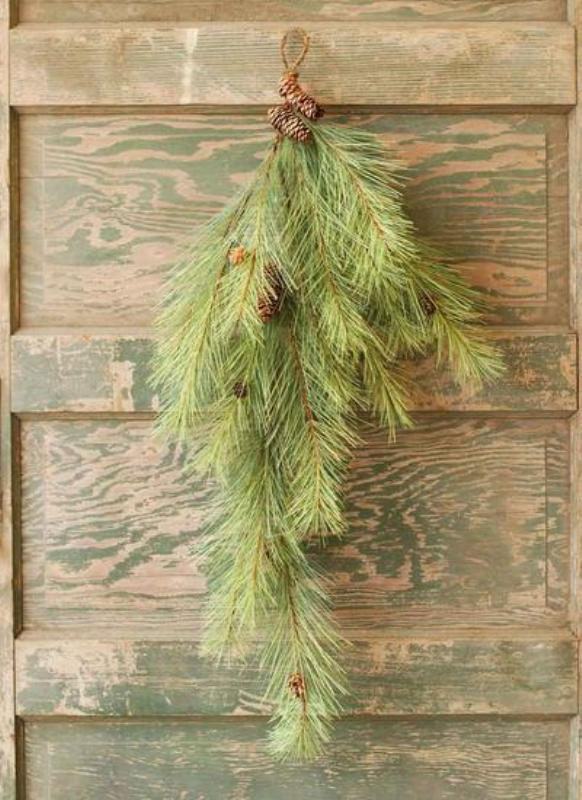 Lone Needle Pine Teardrop Swag - With Pine Cones - 36 Inch