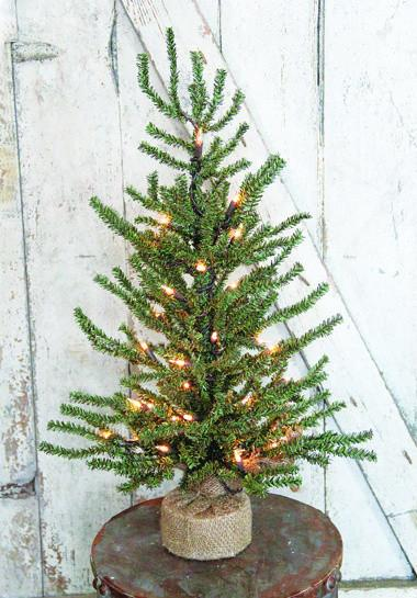 "Artificial Tree - ""Artificial Slim Pine Tree with Lights"" - 2'"