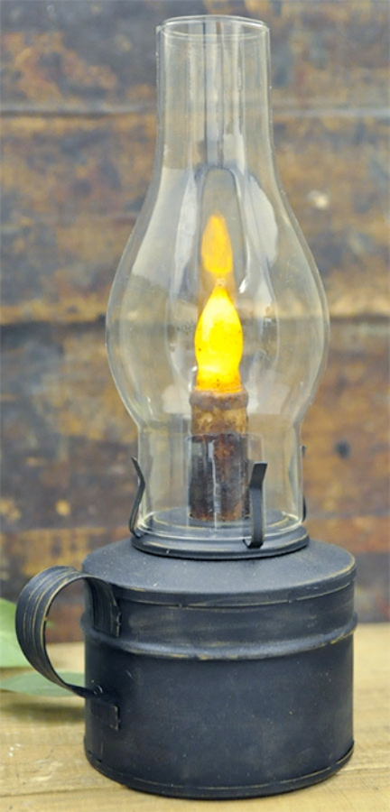 Battery-Operated Barn Lantern with Timer - Black - 12in x 4in