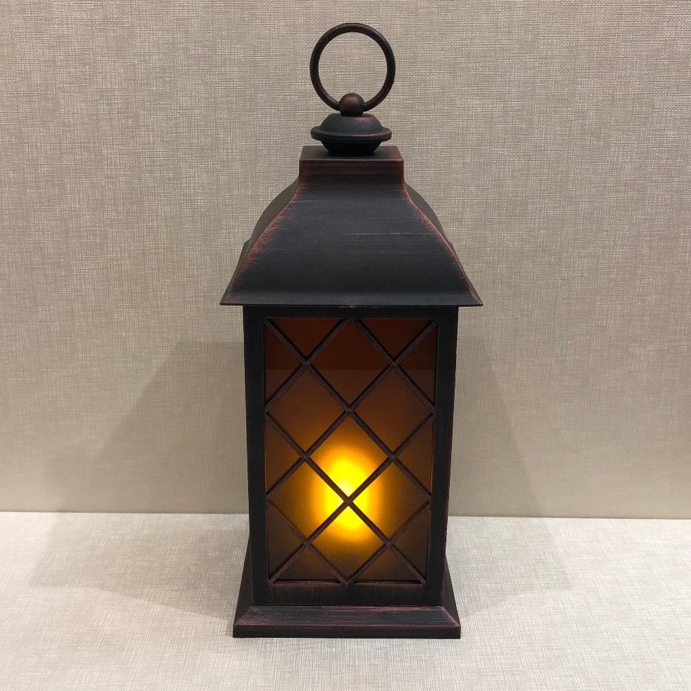 Battery Operated Lantern - Built-In Moving Flame - Black/Copper - 13in