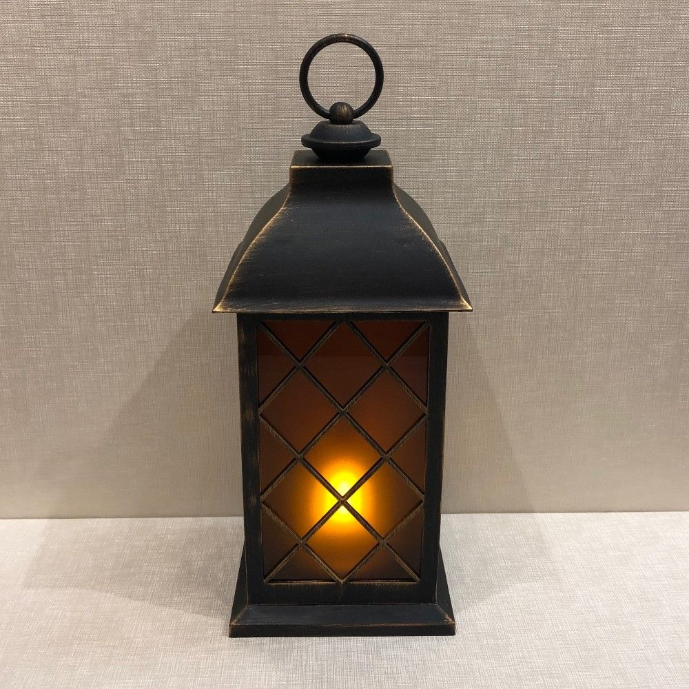 Battery Operated Lantern - Built-In Moving Flame - Black/Gold - 13in
