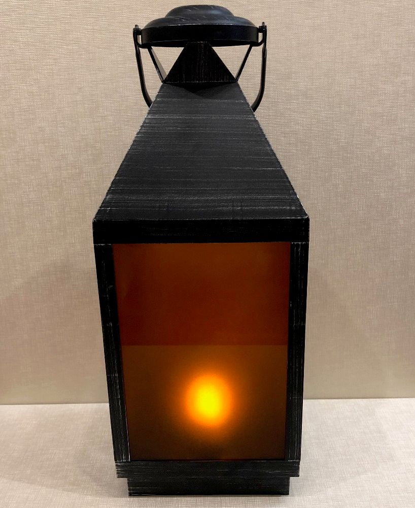 Battery Operated Lantern - Built-In Moving Flame - Black/Silver - 22.5in