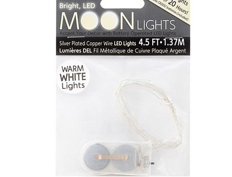 LED Wire String Lights - Warm White - Battery/Silver Wire - In/Out - 12 Lights