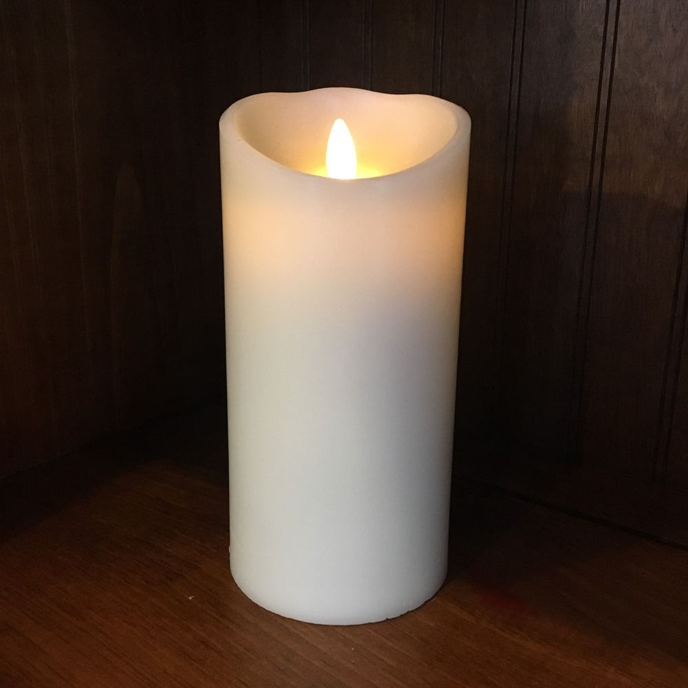 Flameless Pillar Candle - Moving Flame - Ivory - 7.5in x 3.5in