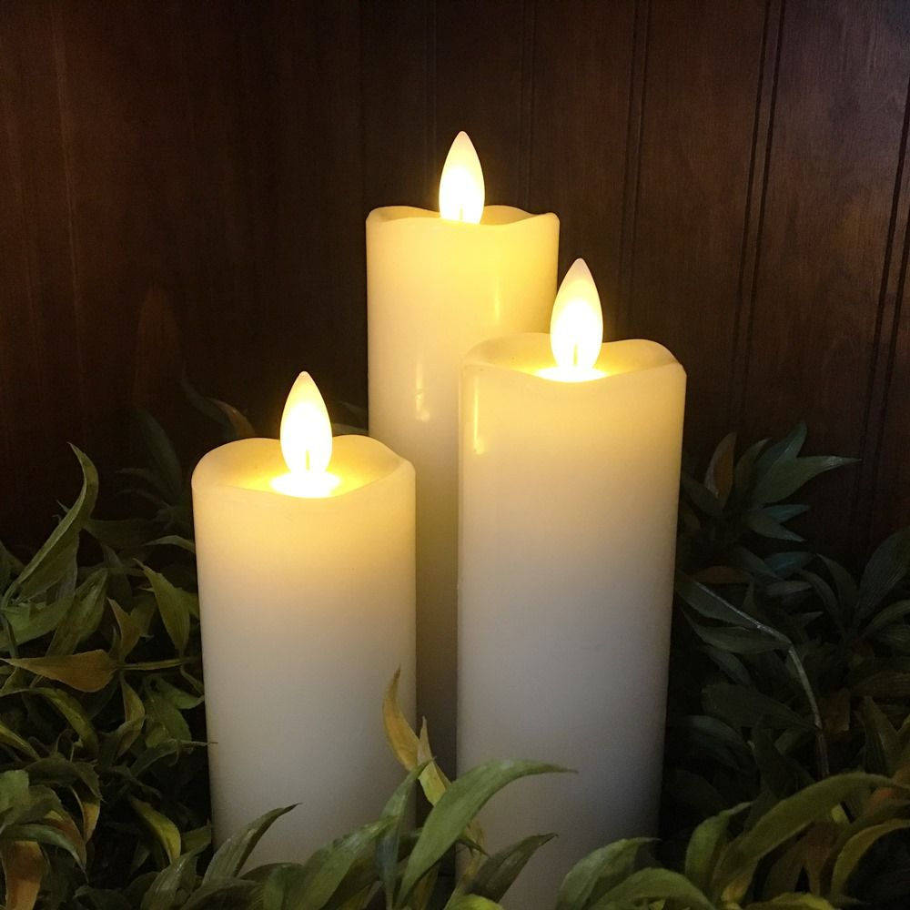 Flameless Pillar Candle Set - Mirage Gold - Cream - Set of 3
